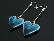 Deep Waters Large Heart Dangle Earrings