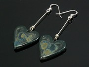 Lakeland Moss Large Heart Dangle Earrings