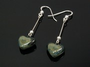 Lakeland Moss Small Heart Dangle Earrings