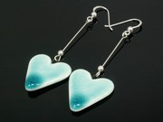 Sunlit Waters Large Heart Dangle Earrings