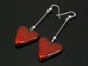 Touch of Fire Large Heart Dangle Earrings