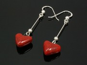 Touch of Fire Small Heart Dangle Earrings
